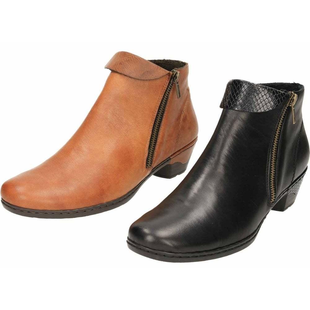 Rieker Bronceado Negro Plano Cuero Tacón Bajo Bloque Botas al Tobillo Zapatos del pantalón 76961