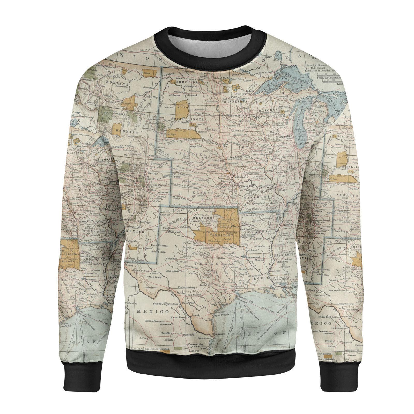 Antique Antique Antique United States Map Mens Sweatshirt | Wirtschaft  db5185