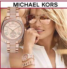 NWT MICHAEL KORS Bryn Pink & Rose Gold Swarovski Crystal Glitz Watch MK6135 $295