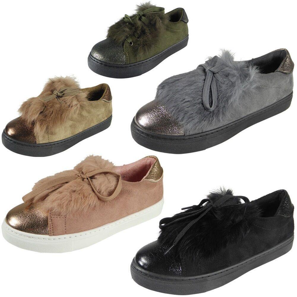 Nouveaux formateurs de Mesdames Womens fourrure daim plates lacets Pom Pom Baskets chaussures taille