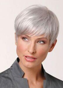 Gray Highlight Spiffy Ultrashort Short Straight Capless Women's Wig Hair