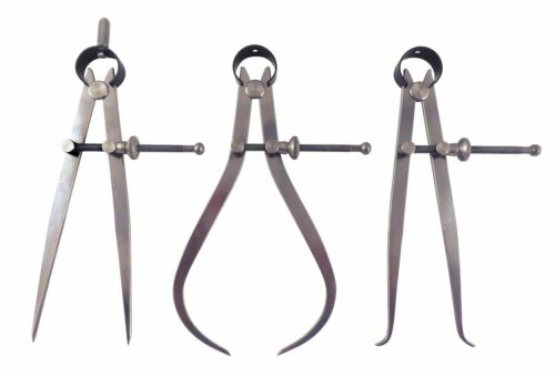 """Inside ID /& Outside OD Calipers C1-6//C2-6//C3-6 3 Piece 6/"""" Spring Dividers"""