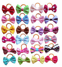 50pcs Assorted Pet Cat Dog Hair Bows w/Rubber Bands Animal Grooming Accessories