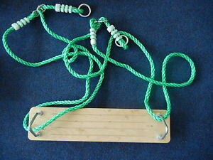 Hills-Compatible-Wooden-Swing-Seat-on-Ropes-Replacement-Swing-Set-Parts-NEW