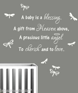 Nursery Wall Sticker Quote A Baby Is A Blessing Boy Or Girl