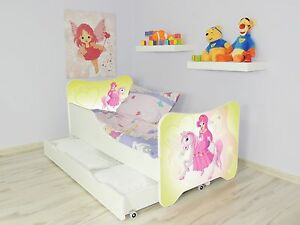 kinder bett pony f r m dchen mit matratze 140x70 schublade. Black Bedroom Furniture Sets. Home Design Ideas