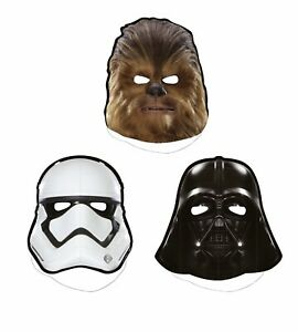 Star-Wars-Paper-Masks-8-Count-Halloween-Parties-Vader-Chewbacca-Stormtrooper