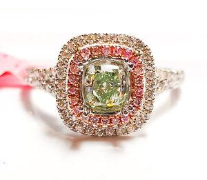 1.02ct Fancy Green & Argyle 6PP Intense Pink Diamond Engagement Ring GIA 18K SI1