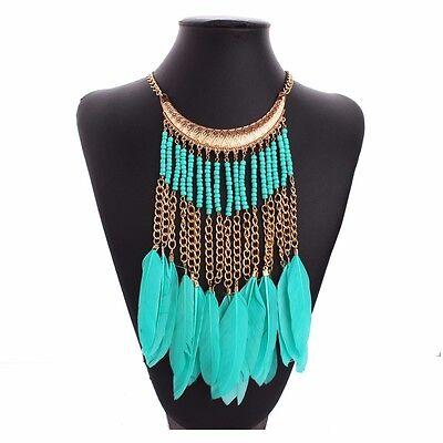 Green Feather Tassel Bib Golden Tone Chain Seed Beads Statement Necklace