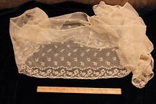 """French Antique 19th Hand Embroidered Net Lace~Bridal, Dolls~3yds 22""""LX8""""W"""