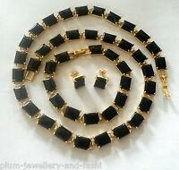 SE59 BLACK onyx 18k GOLD FILLED necklace bracelet & earrings Plum UK BOXED