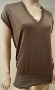 PAUL-amp-JOE-SISTER-Brown-Silk-Cotton-V-Neck-Cap-Sleeve-Knitwear-Jumper-Vest-Top-1