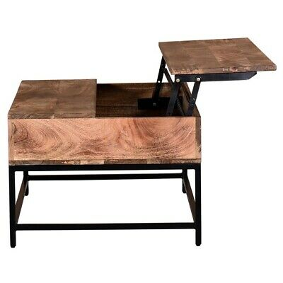 Lift Top Coffee Table In Natural Burnt Solid Wood Rustic Modern Ebay