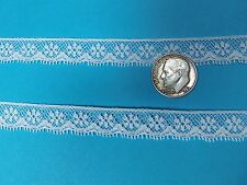 "French Heirloom Cotton Lace Edging 3/8"" Wide White Fashion/Craft/Doll Lace 770"