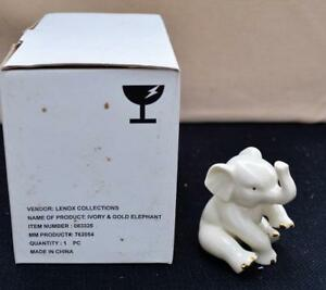 NIB-LENOX-Bone-China-24k-Gold-Accents-ELEPHANT-3-034-h-Figurine-83325