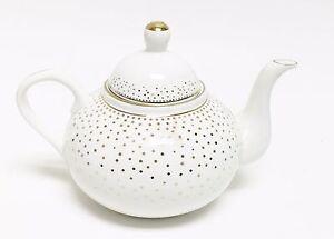 New grace tea ware white metallic gold polka dot porcelain for Gold polka dot china