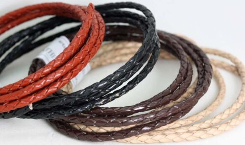 Cord Genuine Bolo Braided Leather cord 3MM Thick Thong Lace