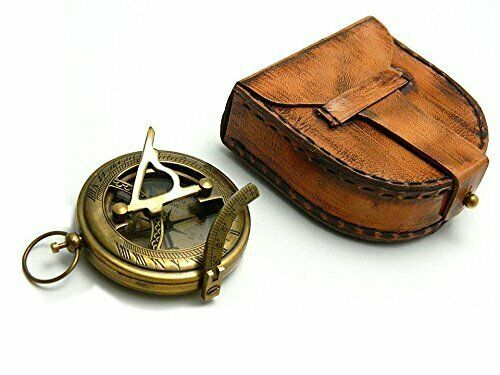 Nautical Marine Brass Push Button Sundial Compass With Leather Case