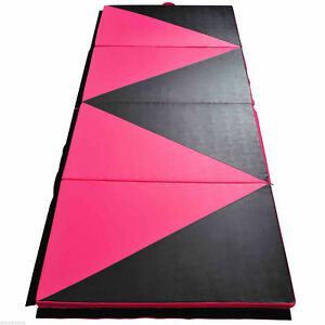 Folding-Tumbling-Gym-Mat-Panel-Exercise-Yoga-Sports-4-039-x10-039-x2-034-Pink-amp-Black