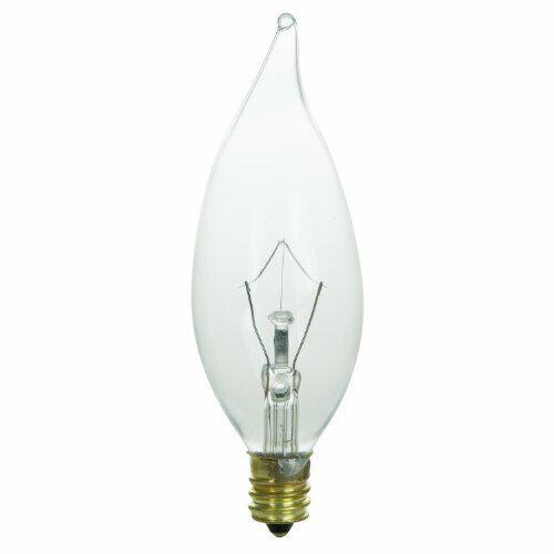 Sunlite 25w Flame Tip 120volt, Incandescent Luminaire Chandelier Bulb