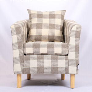 Tartan Plaid Check Linen Fabric Tub Chair Upholstered Seat ...