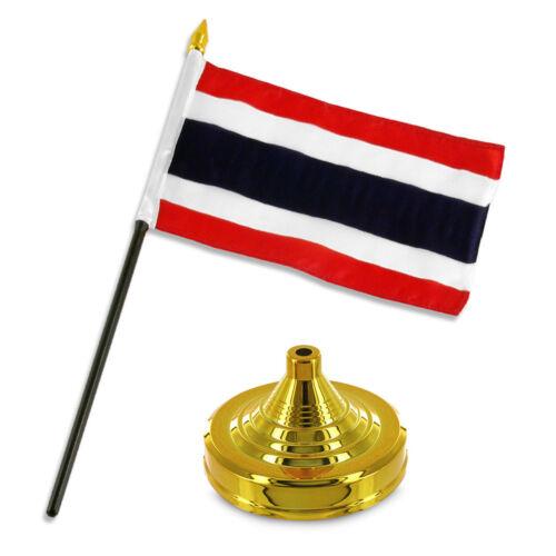 "Thailand 4/""x6/"" Flag Desk Set Table Stick Gold Base"