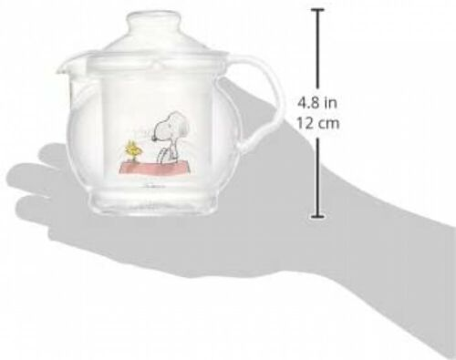 The Peanuts Snoopy Glass Teapot w// Strainer 460ml Heat Resistant Japan Limited