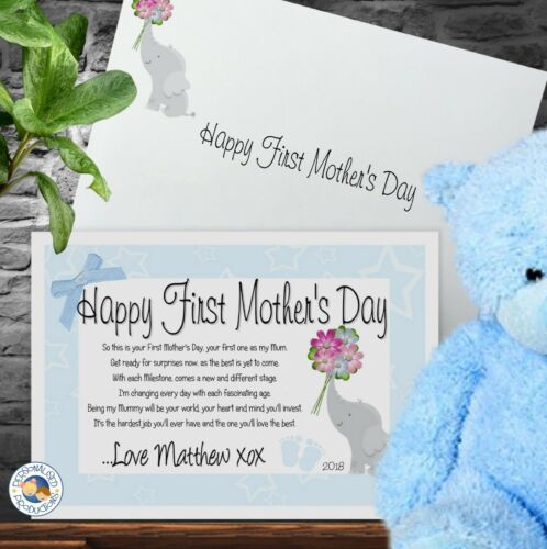 MUMMY/'S FIRST MOTHER/'S DAY CERTIFICATE GIFT CARD A5 personalised print