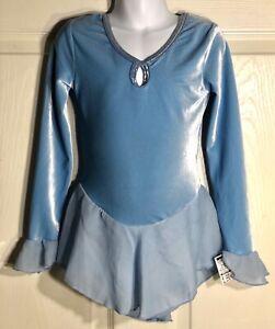 GK-BLUE-VELVET-ICE-FIGURE-SKATE-CHILD-SMALL-LgSLV-WRIST-RUFFLE-FOIL-DRESS-Sz-CS