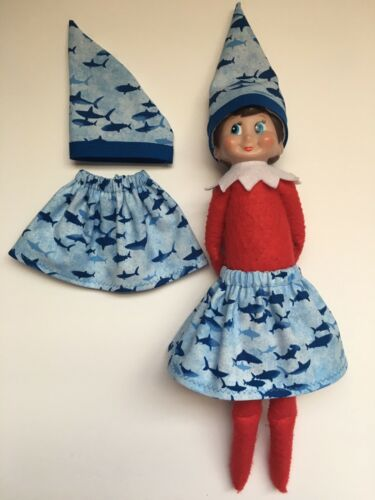 Christmas Elf Skirt /& Hat Set Light Blue Coastal Ocean Tiny Baby Sharks Doo Doo
