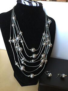 New-QVC-Silver-Multi-Strand-Shell-Pearl-Necklace-and-Earring-Set-18-Long-Chain