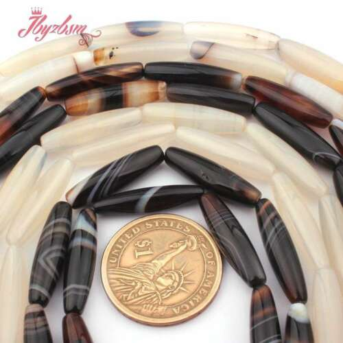 """6x25mm Smooth Oval Mutil-Color Agate Stone Spacer Loose Beads Jewlery Making 15/"""""""