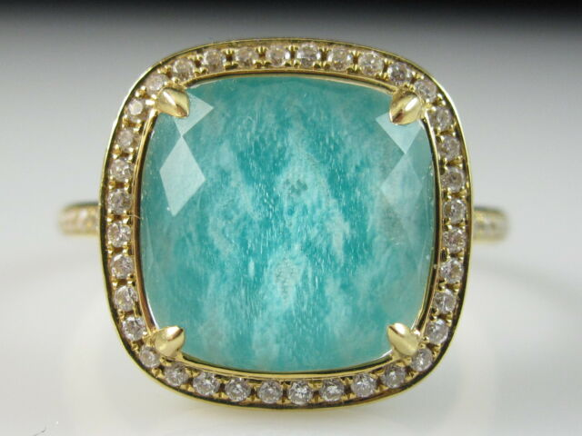 18K Diamond Ring Doves Doran Paloma Breeze Collection Quartz Amazonite Doublet