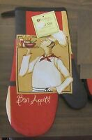 Rare Fat Chef Printed Kitchen 13 Large Oven Mitt, Waiter, Bon Appetit