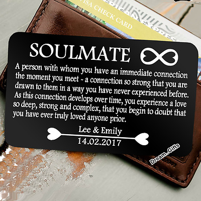 Personalised Soulmate Wallet Insert - I Love You Gifts For Him Her Men  Women W28 | eBay