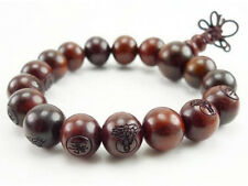 Tibetan Rosewood 16 12mm Carved Buddha Prayer Bead Yoga Meditation Mala Bracelet