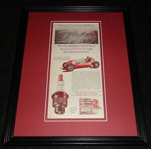 Al Rogers 1951 Champion Spark Plugs 11x14 Framed ORIGINAL Vintage Advertisement