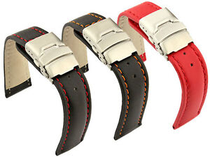 8ba6087c1 Leather Watch Strap Band Canyon Deployment Clasp 18mm 20mm 22mm 24mm ...