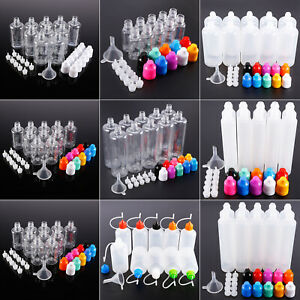 10x-Flacon-compte-gouttes-10-100ml-Bouteille-plastique-vide-1x-mini-entonnoir