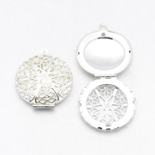 2 Pcs Flat Round Brass Diffuser Locket Pendants Photo Frame Charms for Necklaces