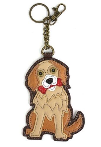 Chala Golden Retriever Puppy Dog Key Chain Coin Purse Leather Bag Fob Charm New