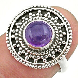 925 Sterling Silver 2.30cts Solitaire Natural Purple Amethyst Ring Size 6 T41430