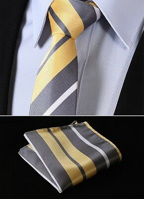 """TS4019Y7 Yellow Gray Stripe 2.75"""" Silk Slim Narrow Men Handkerchief Necktie"""
