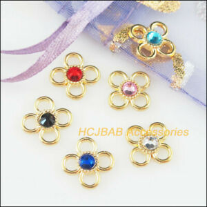24Pcs-Gold-Plated-Tiny-Flower-Mixed-Crystal-Charms-Pendants-Connectors-9-5mm