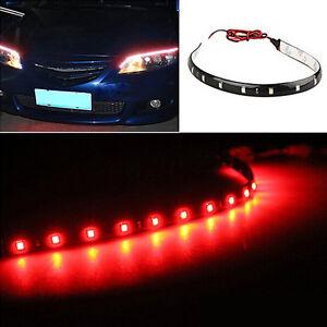 RED LED Strip Lights Car 30cm DRL Waterproof Flexible Rear Brake Stop 3RD