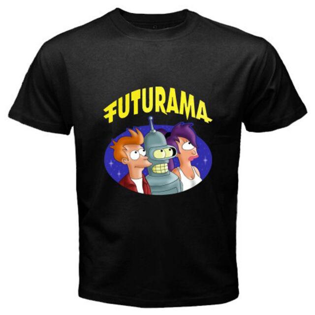 New FUTURAMA Funny Cartoon TV Series Men's Black T-Shirt Size S to 3XL