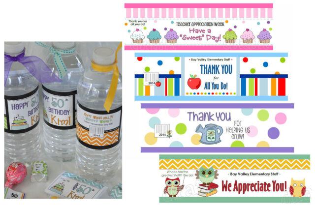 32 WATER BOTTLE LABEL Teacher School Appreciation Staff Wrapper Personalized
