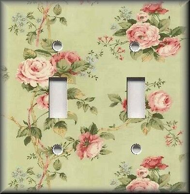 Metal Light Switch Plate Cover - Floral - Pink Roses On Green Shabby Chic Decor