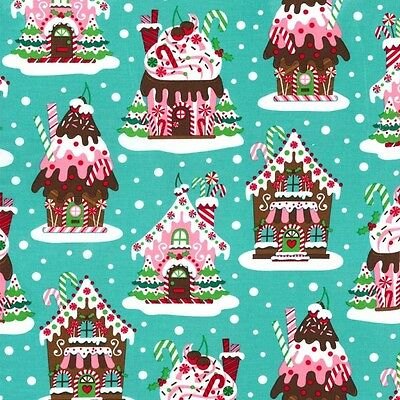 Fat Quarter Gingerbread Houses Christmas Cotton Quilting Fabric Michael Miller