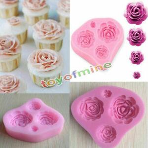 4-Size-Roses-Flower-Silicone-Mould-Cake-Decorating-Fondant-Fimo